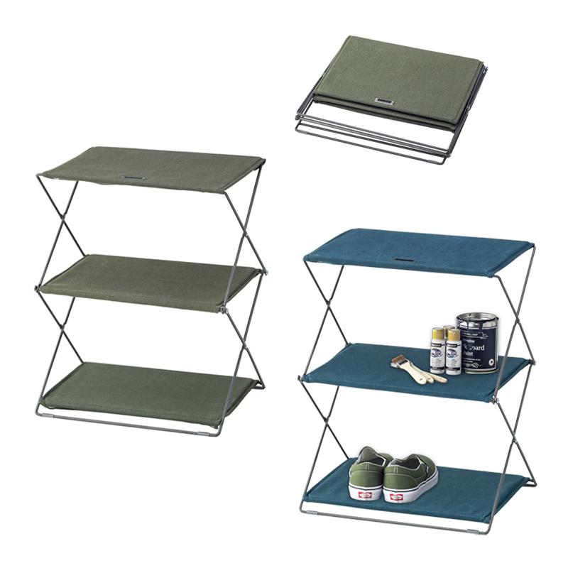 コンパクトに収納できて丈夫なラック キャンプやアウトドアでの使用にも! 折りたたみフォールディングシェルフ