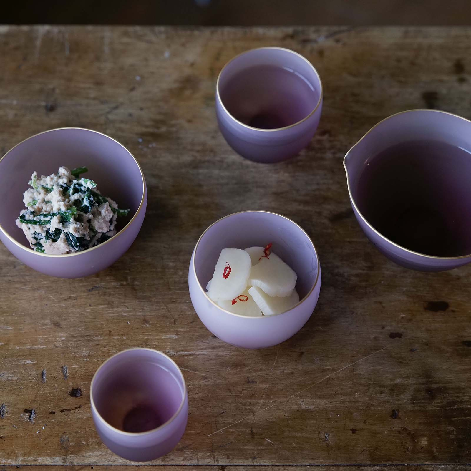 サキ:猪口・小鉢・片口 金巻き 桐箱入り 5個セット GIFT