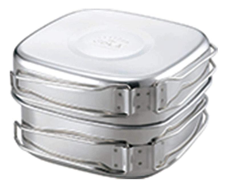 【新品】【送料無料!】Kakusee カクセー SOLA ソラリラ 角型キャンピング鍋 アウトドアクッカー/食器 6点セット ステンレス製 PP-04