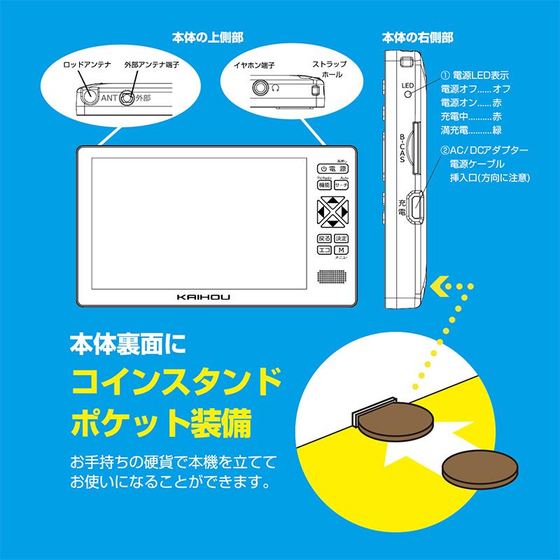 【新品】【送料無料!】KAIHOU カイホウジャパン 5インチ液晶 フルセグTVラジオ ワイドFM対応 2電源対応 KH-TVR500R
