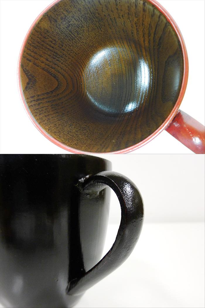 【中古】【未使用品】漆器 布まどか マグカップ ペア 根来・曙 天然木 うるし塗装