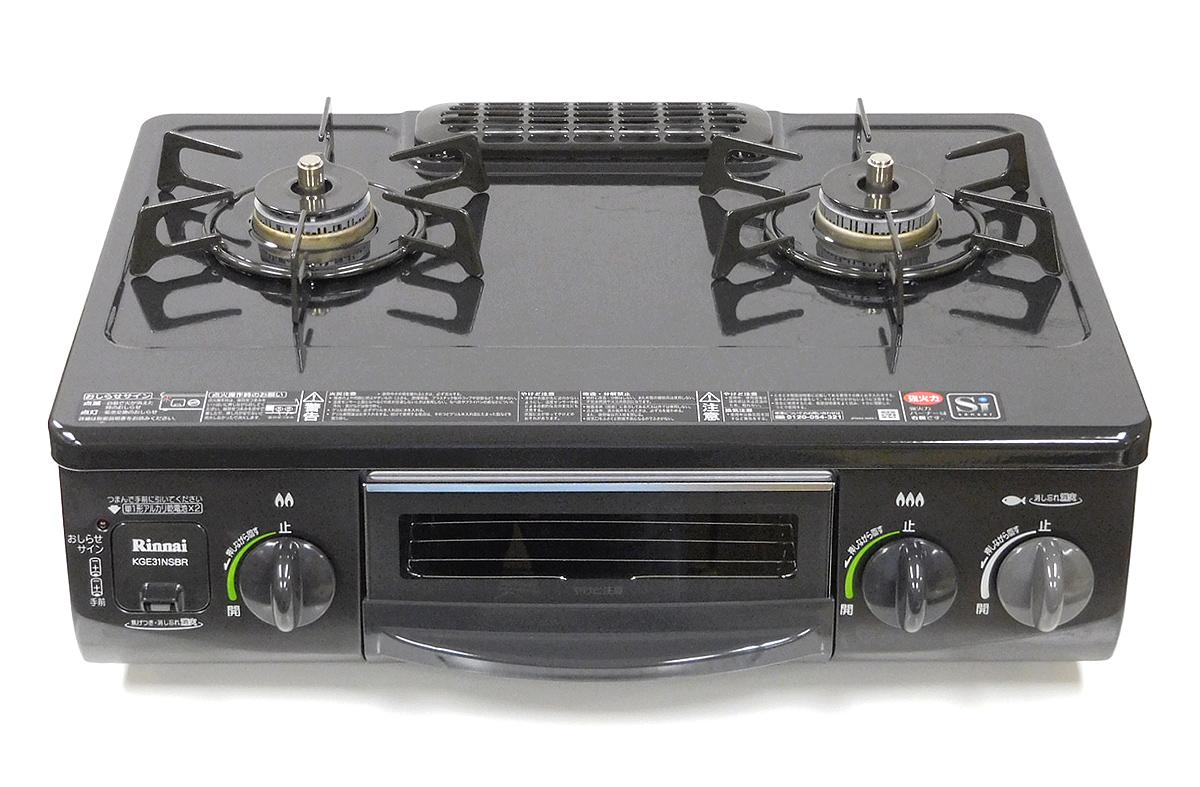 【中古】【送料無料!】【代引き不可】Rinnai リンナイ グリル付きガステーブル LPガス(プロパンガス)用 右強火力 水有り片面焼きグリル ブラック 2015年製 KGE31NSBR RT31NHS-R RT31NS