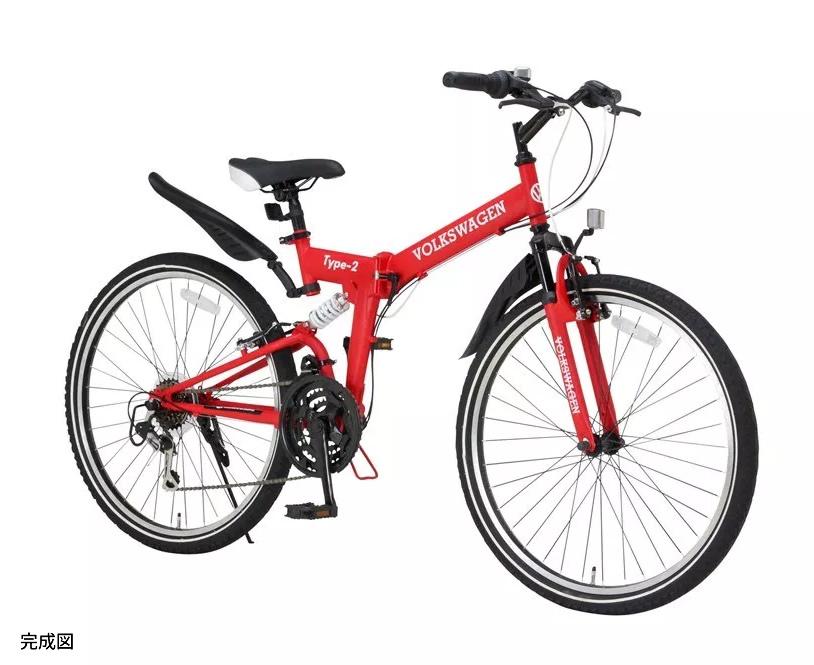 【中古】【未使用品】OTOMO オオトモ 折りたたみ自転車/マウンテンバイク 26インチ VOLKSWAGEN type-2 MTB-2618 前後ダブルサスペンション