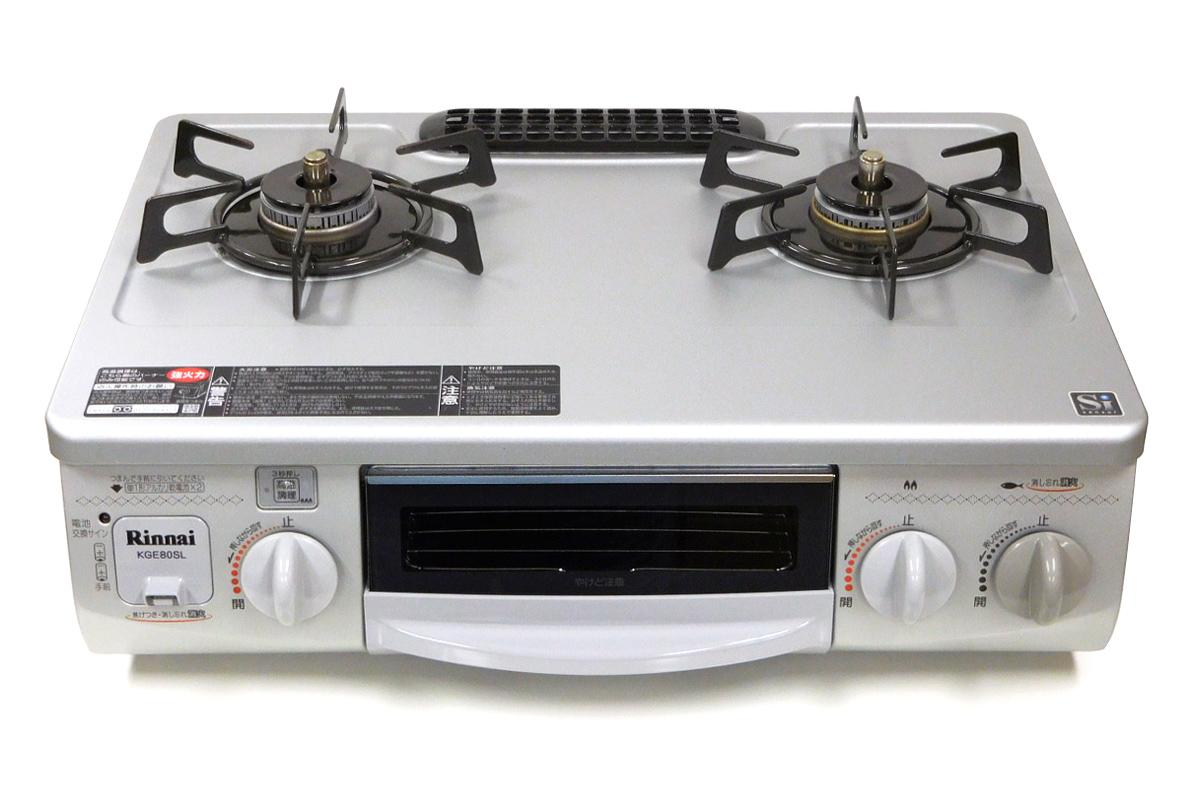 【中古】【送料無料!】【代引き不可】Rinnai リンナイ グリル付きガステーブル LPガス(プロパンガス)用 左強火力 水有り片面焼きグリル シルバー 2011年製 KGE80SL RTS-338WNTS-L RTS-338WNTS