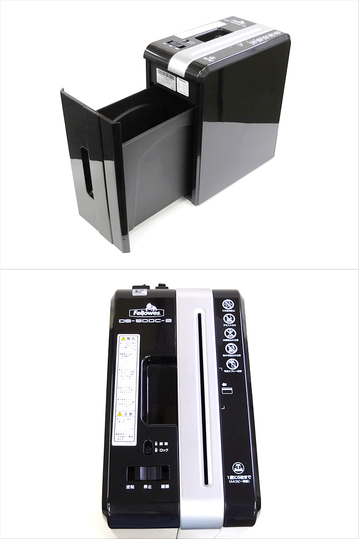 【中古】Fellowes フェローズ デスクサイドシュレッダー クロスカット細断 細断枚数〜5枚まで ブラック DS-500C-2