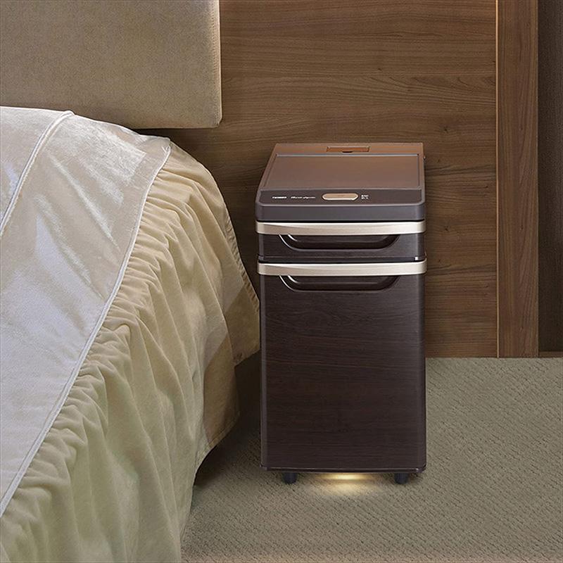 【新品】【送料無料!】TWINBIRD ツインバード ベッドサイド冷蔵庫 寝室用冷蔵庫 約17L 引き出し/足元灯/庫内灯/コンセント×2付き ブラウン HR-D282BR