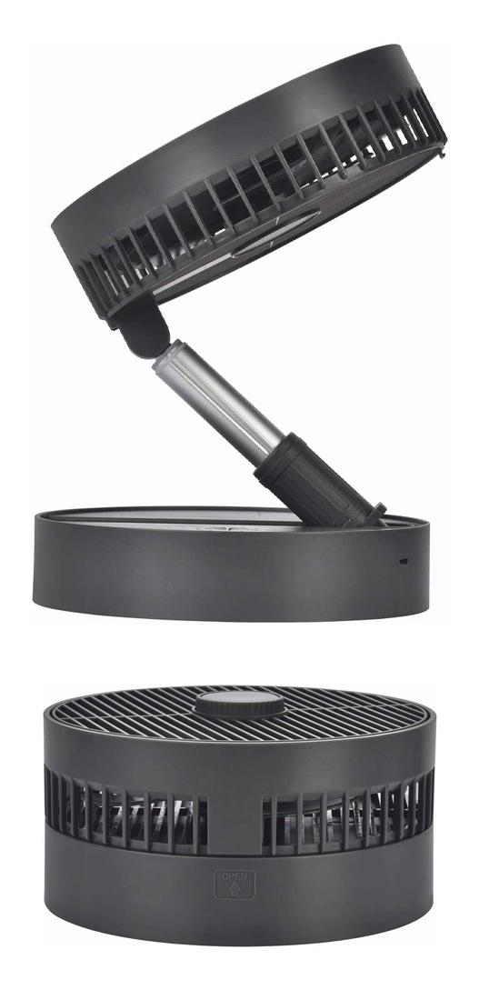 【未使用品】【送料無料!】NEOVE ネオーブ 充電式ロッドネックファン 卓上/リビング扇風機 AC変換アダプター付き ダークグレー NFV16-RN20DH