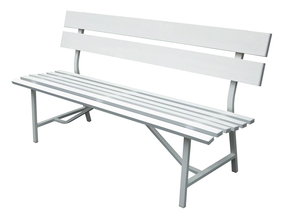 屋外・お庭・テラスに最適!【新品】【送料無料!】アルミ製 背もたれ付き 3人掛けベンチ ガーデンベンチ 背板2枚タイプ 組み立て式 耐荷重約300kg ホワイト(白)