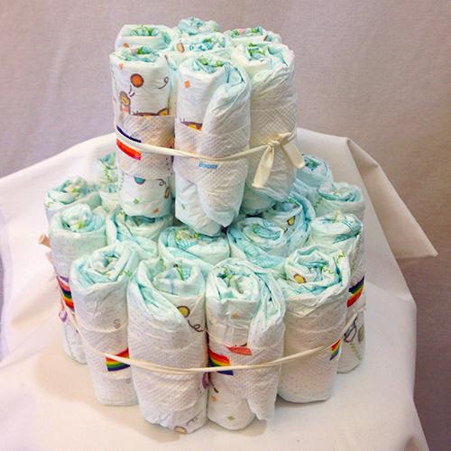 おむつケーキ2段 ファーストシューズ