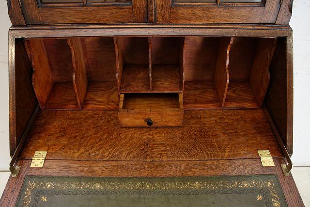 wd-12 1930年代 イギリス製 アンティーク オーク ビューローブックケース 本棚付き机 デスク