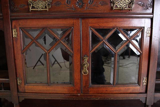 ce-78 1880年代 イギリス製 アンティーク ビクトリアン マホガニー ミラーバック エンパイヤキャビネット