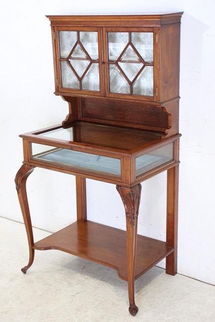 ce-82 1870年代イギリス製アンティーク ヴィクトリアン ウォルナット ショップショーケース
