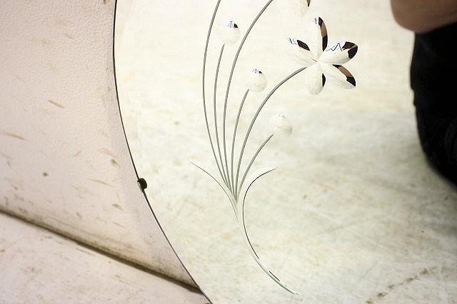 mr-3 1960年代 イギリス製 アンティーク アールデコ お花 カットガラス 丸型 壁掛け鏡 ウォールミラー
