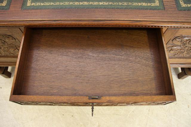nd-1 1980年代 イギリス製 ビンテージ ビクトリアンスタイル オーク レザートップ ニーホールデスク