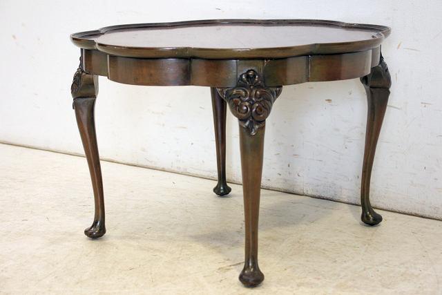 ct-4 1930年代 イギリス製 アンティーク ウォルナット フラワーシェイプ コーヒーテーブル