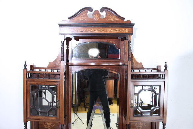 ce-23 1880年代イギリス製 エドワーディアン ローズウッド ミラーバック アンティーク エンパイヤキャビネット