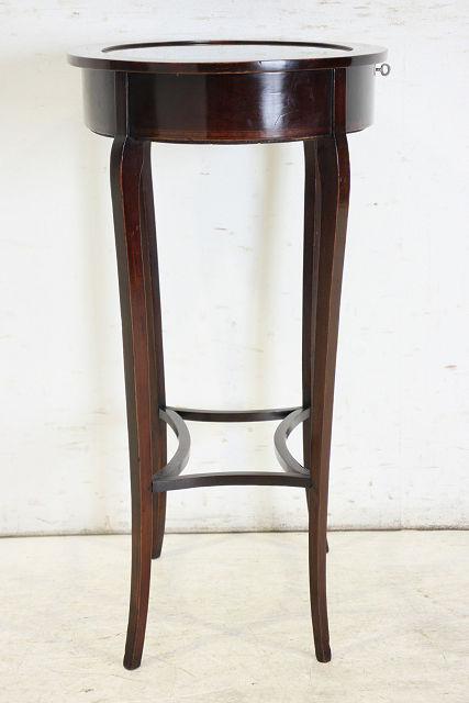 ce-35 1900年代 イギリス製 アンティーク マホガニー エドワーディアン インレイド オーバル ジュエリーショーケース