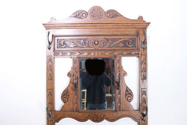 hs-6 1890年代 イギリス製 アンティーク ビクトリアン オーク 鏡付き ホールスタンド コートハンガー