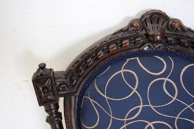 dn-27 1880年代 イギリス製 アンティーク ビクトリアン ウォルナット ロココスタイル バルーンバックチェア 4脚セット