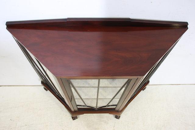 ce-40 1930年代 イギリス製 アンティーク マホガニー カブリオーレ ガラスキャビネット