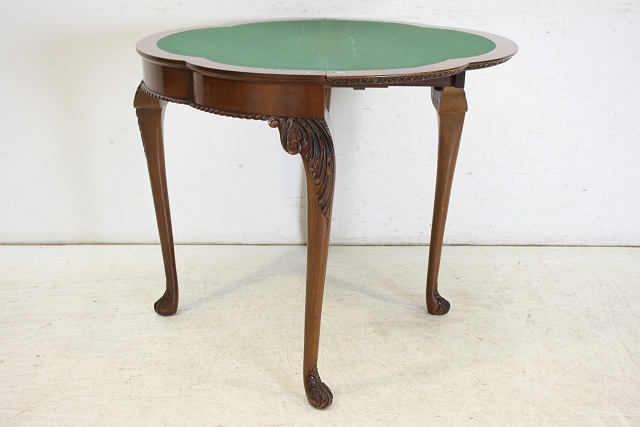 cl-4 1940年代 イギリス製 アンティーク ウォルナット ビクトリアンテイスト カードテーブル ゲームテーブル