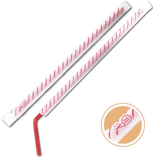 【スラッシュデザイン】6�×21�フレックスストロー 赤(紙包装/500本入)