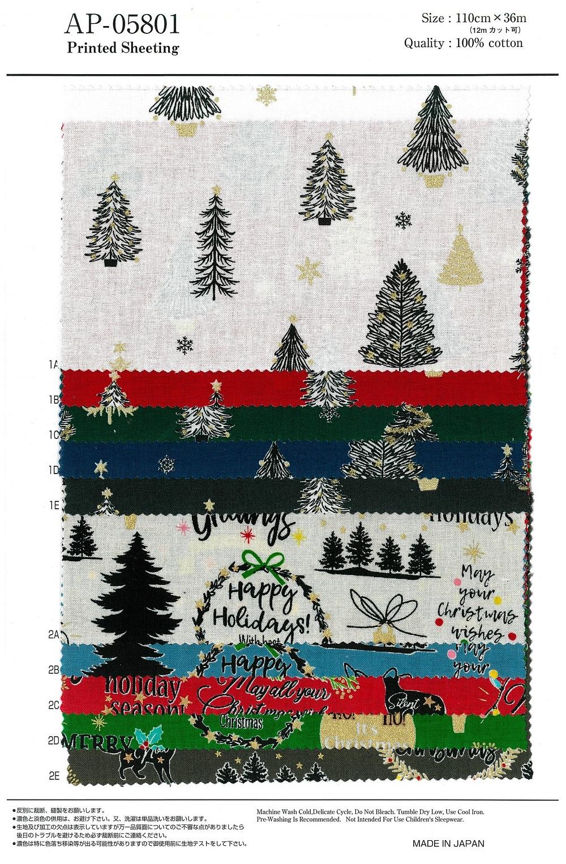 2020年 おとなクリスマス 柄 綿100% Christmas Xmas プリント シーチング 日本製 AP05801