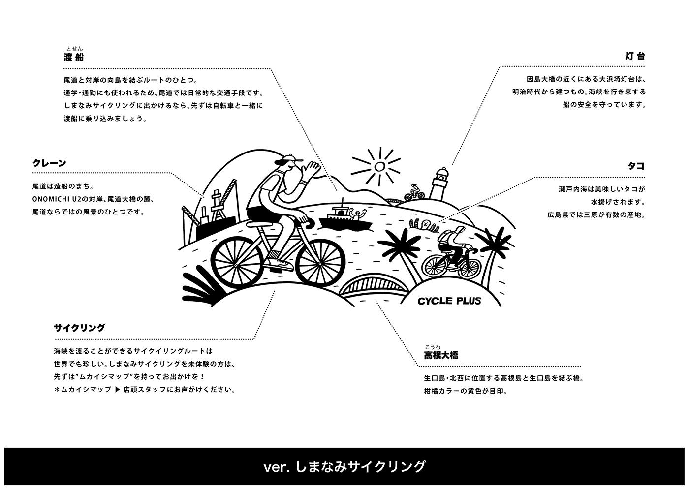 "CYCLE PLUS Tシャツ ""しまなみサイクリングロード"""