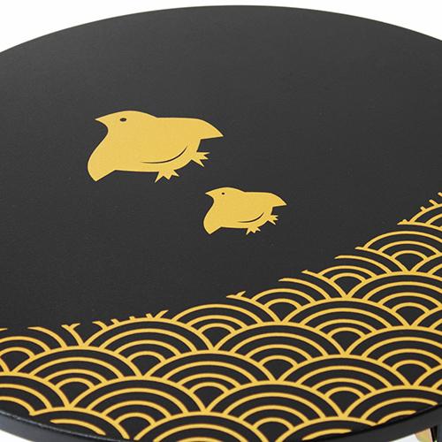 和風カフェテーブル小波千鳥(黒)