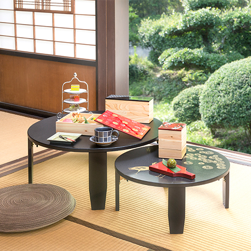 和風カフェテーブル小松鶴(黒)