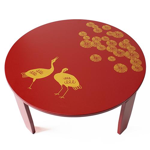 和風カフェテーブル小松鶴(赤)