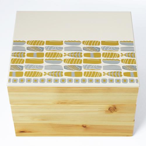 Njeco汎鮨蒔絵三段重箱(オフホワイト)