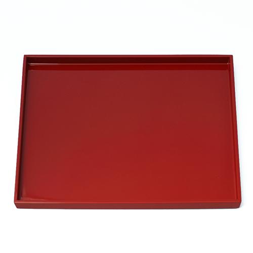 浅縁長角盆(赤)