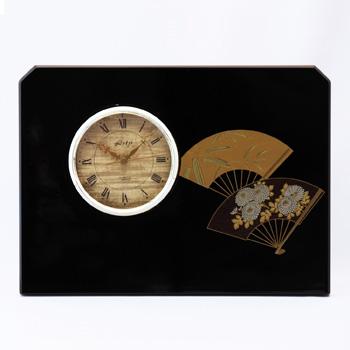 扇面蒔絵立型時計