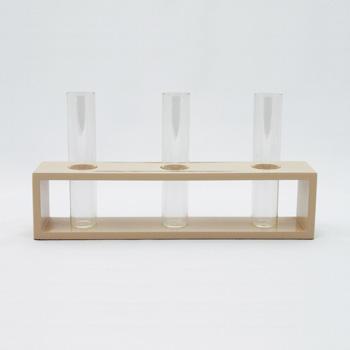 三本立花器(変根来-白)