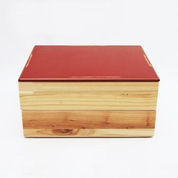 Njeco汎二段重箱(変根来-赤)
