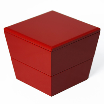 台形ミニ入子二段重箱(赤)
