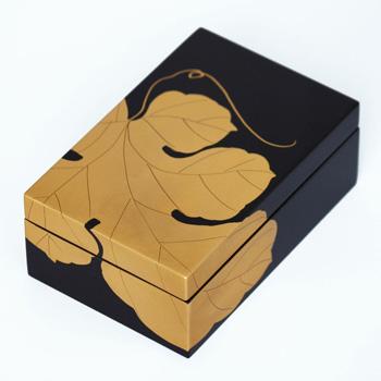 ぶどう蒔絵長角小箱(黒)