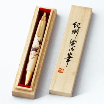 紀州塗桔梗蒔絵ボールペン木箱入(オフホワイト)