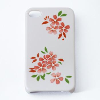 蒔絵for iPhone4/4S専用ケース 白(スワロフスキー桜)