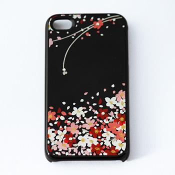 蒔絵for iPhone4/4S専用ケース 黒(スワロフスキーブーケ)