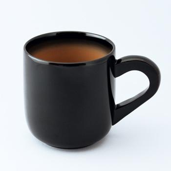 漆コーヒーカップ(黒・白ぼかし)
