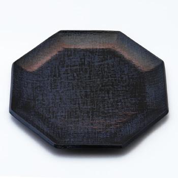 八角皿(霞根来-瑠璃)