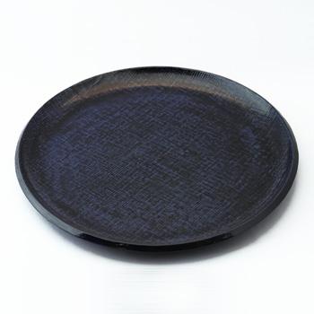 皿型丸盆(霞根来-瑠璃)