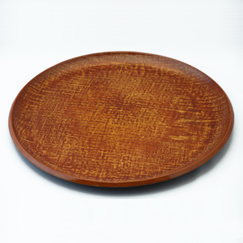 皿型丸盆(霞根来-山吹)