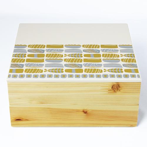 Njeco汎鮨蒔絵二段重箱(オフホワイト)