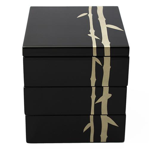 銀竹蒔絵5寸三段重箱