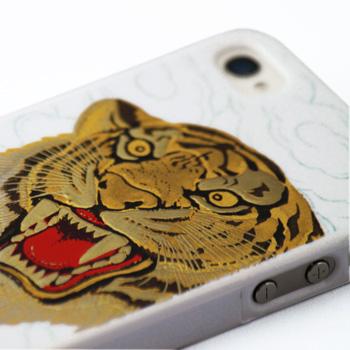 高蒔絵for iPhone4/4S専用ケース 白(虎)