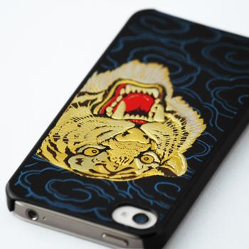 高蒔絵for iPhone4/4S専用ケース 黒(虎)