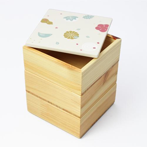 Njeco汎和菓子蒔絵ミニ三段重箱(白)